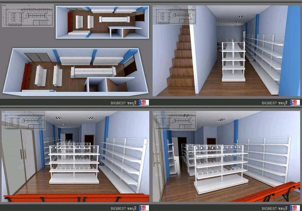 แบบร้านขายของชำ 3D บิ๊กเบสท์ชลบุรี