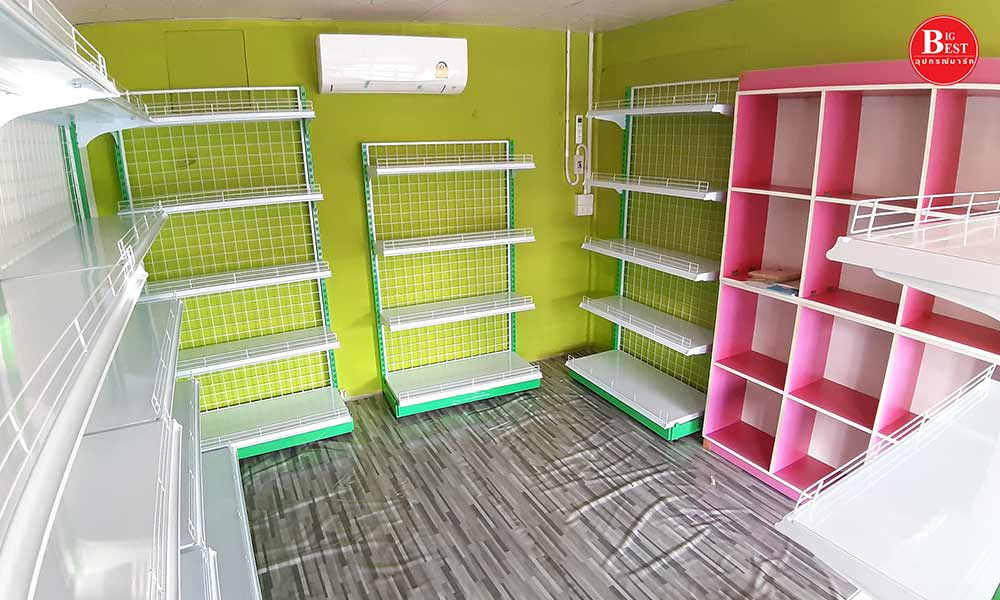 Grocery store in green pink tone