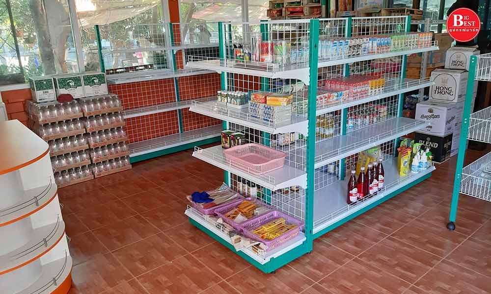 Shop green shelves with warm tones