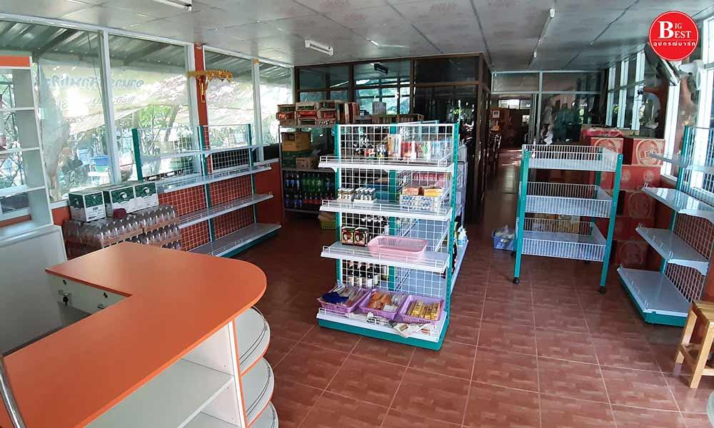 Shop green shelves with warm tones2