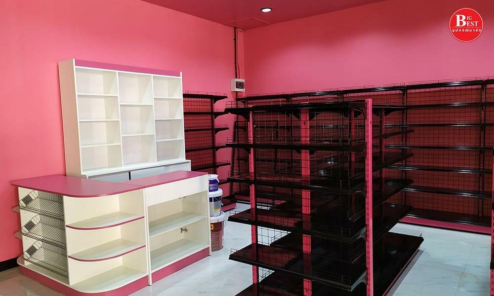 black pink shelf grocery store